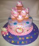 Hello Kitty Cake w. One Dozen Cupcakes