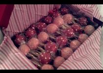 Red w. confetti heart & Pink w. White Drizzle Cake Pops