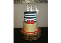 Simple Gold and Stripes Cake